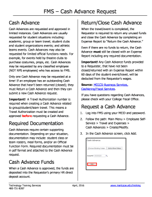 FMS Cash Advance Request Fill Online Printable Fillable Blank