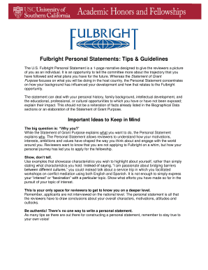 fulbright eta personal statement tips