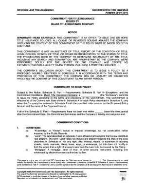 Adopted 08-01-2016 COMMITMENT FOR TITLE INSURANCE ISSUED  - nclta