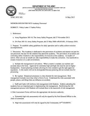 Fillable Online usar army Policy Letter 17 Safety Program   U.S.