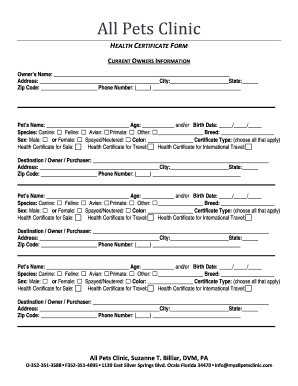 pet health certificate form fill out print forms templates in word pdf