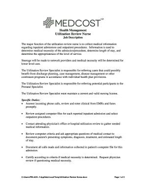 Medical review nurse job description to download editable