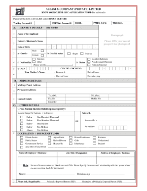 Fillable Online KYC FORM pdf - Abbasi and Company Fax Email Print