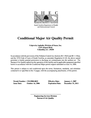 Conditional Major Air Quality Permit - Colprovia Asphalts, Division of Seaco, Inc., CM-9900-0025. Conditional Major Air Quality Permit - Colprovia Asphalts, Division of Seaco, Inc., CM-9900-0025 - scdhec