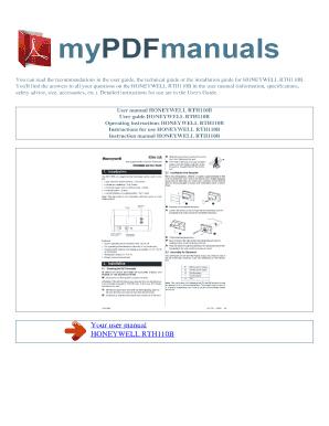 fillable online user manual honeywell rth110b operating rh pdffiller com user guide honeywell thermostat user guide honeywell cm927