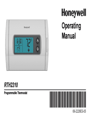 fillable online 69 2229es b pdf rth2310 operating manual fax rh pdffiller com Honeywell Thermostat Operating Manual Old Honeywell Thermostats