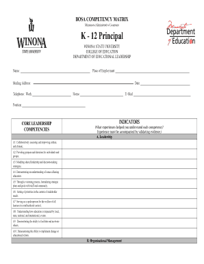 Fillable Online winona BOSA Competency Matrix K-12 Principal