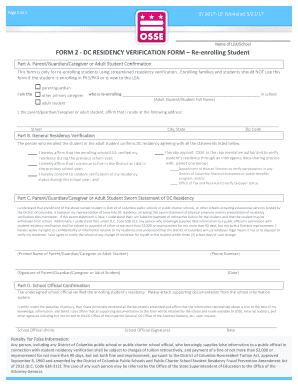 Fillable Online Osse Dc Form 2 Dc Residency Verification Re Enrolling Office Of The Osse Dc Fax Email Print Pdffiller