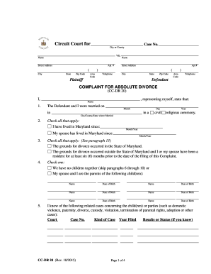 absolute divorce complaint form maryland