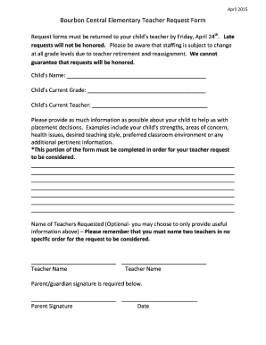 Fillable teacher request form - Edit Online, Print & Download Forms