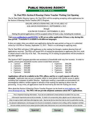 section 8 housing voucher application online - Edit, Fill