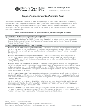 Fillable Online Scope of Appointment Form - Blue Cross of Idaho ...