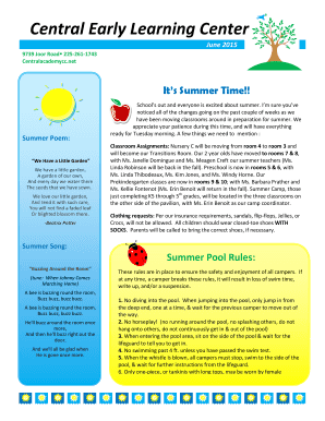 Summer Camp Checklist Template Poem