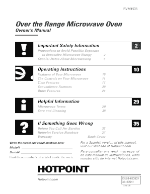 Fillable online 39-40541. Ge/hotpoint microwave oven owner's.