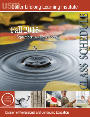 Fall 2015 CLASS SCHEDULE - University of Southern Maine - usm maine