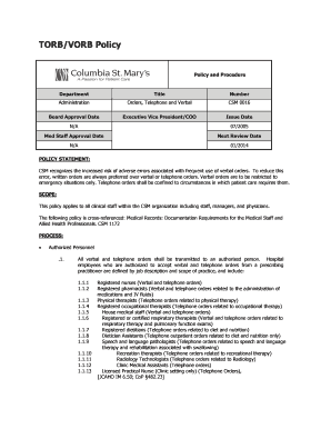 Fillable Online TORB/VORB Policy Fax Email Print - PDFfiller