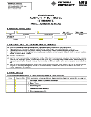 VA Student Travel Authority and Checklist for Outbound Stds