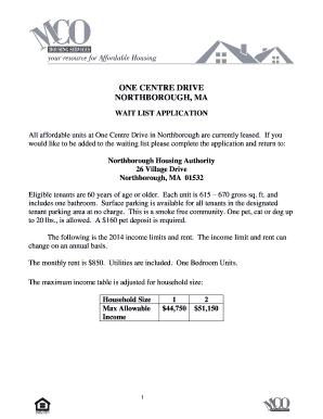 Fillable Online massaccesshousingregistry NAHC Wait List