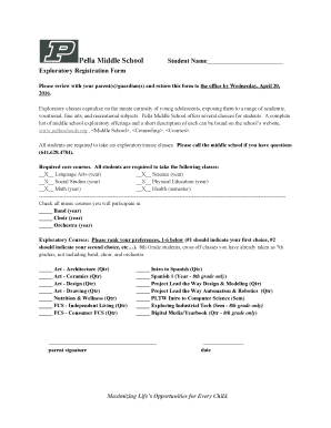 Pella Middle School tudent Name Exploratory Registration Form - pellaschools