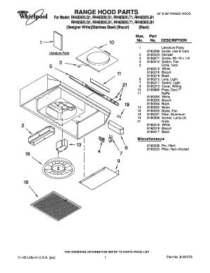 Fillable Online Range Hood Parts Fax
