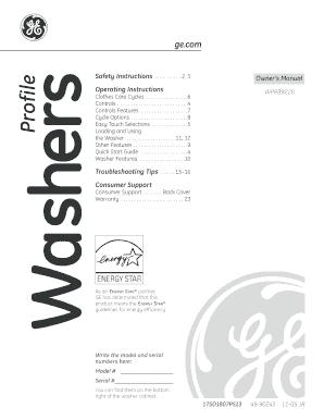 fillable online 49 90245 ge profile washer owner s manual wprb9220 rh pdffiller com ge profile washer owners manual ge profile washer owners manual