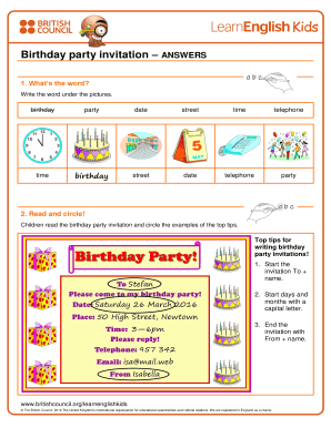 How to write invitation for birthday party example edit fill out how to write invitation for birthday party example birthday party invitation answers filmwisefo