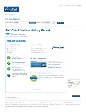 Free Vehicle History Report Online >> Fillable Free Vehicle Title Search By Vin Templates To Submit Online