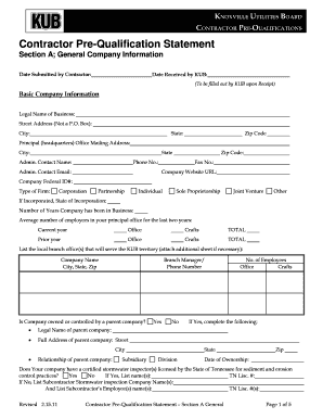 Fillable contractor s qualification statement form samples for Aia a305 template