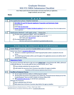 Graduate Division NIH F31 NRSA Submission Checklist Fill Online
