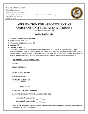 Beautiful APPLICATION FOR APPOINTMENT AS ASSISTANT UNITED STATES .