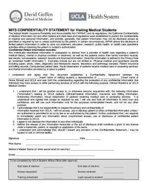 MITS CONFIDENTIALITY STATEMENT For Visiting Medical Students