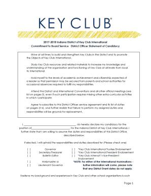 Fillable Online inkeyonline 2017-2018 Indiana District of Key Club