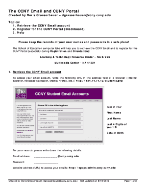 Fillable Online ccny cuny The CCNY Email and CUNY Portal - ccny cuny