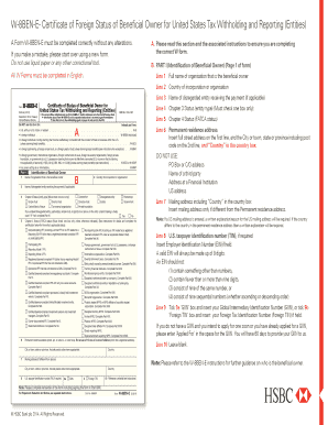 Fillable Online W-8BEN-E- Certificate of Foreign     - business hsbc