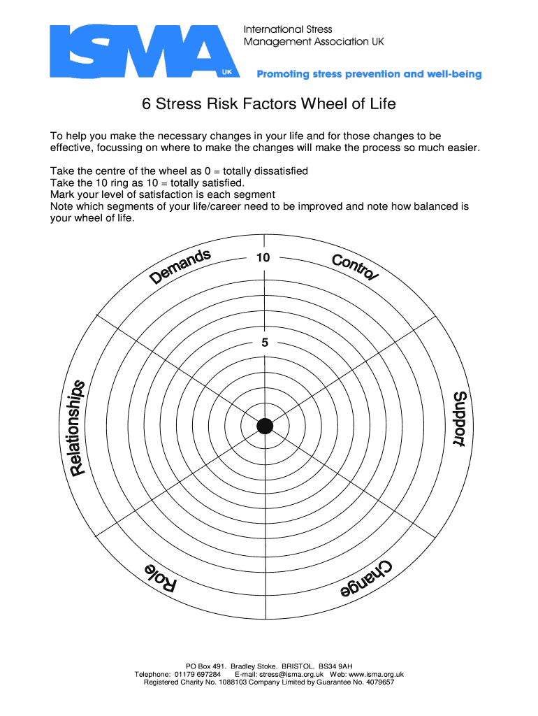 Fillable Online 6 Stress Risk Factors Wheel Of Life Fax Email Print Pdffiller