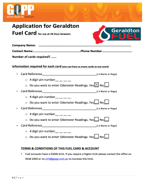 Application for GOPP Geraldton Fuel Card Fill Online, Printable