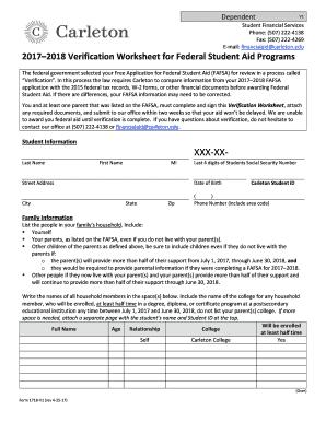 17 18 dep standard verificaiton worksheet rev 4 25 17 fill online printable fillable blank. Black Bedroom Furniture Sets. Home Design Ideas