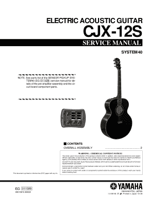 fillable online electric acoustic guitar cjx 12s system40 fax email rh pdffiller com gibson acoustic guitar owner's manual acoustic guitar owner's manual pdf
