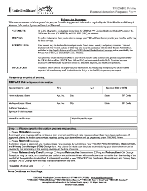 Fillable Online TRICARE Prime Reconsideration Request Form Fax ...