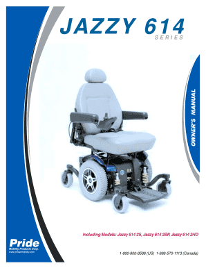 fillable online pride jazzy 614 614hd owner s manual pdf rh pdffiller com Jazzy Power Chair Repair Manual Jazzy 614 HD Parts List