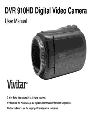 fillable online dvr 910hd digital video camera fax email print rh pdffiller com Vivitar DVR 610 HD Vivitar DVR HD 558