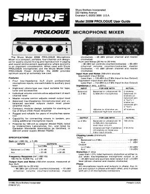 fillable online shure 200m microphone mixer user guide user guide rh pdffiller com shure slx4 user guide shure slx4 user guide