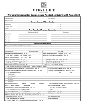 Fillable Online Workers Compensation Supplemental Application Submit