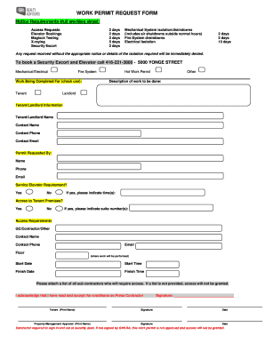 Fillable Online TENANT WORK PERMIT REQUEST FORM - GWL Realty