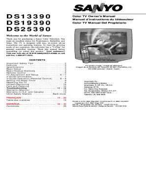 fillable online color tv owner s manual fax email print pdffiller rh pdffiller com Sanyo Flat Screen TV Behringer Mixer Manuals