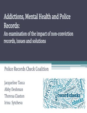 Fillable Online Addictions Mental Health And Police Fax Email Print