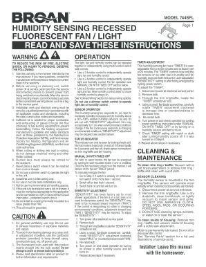 Sfl tap online portion fill out online download printable model 744sfl model 744sfl humidity sensing recessed fluorescent fan light read and save these instructions warning operation to reduce the risk of sciox Gallery