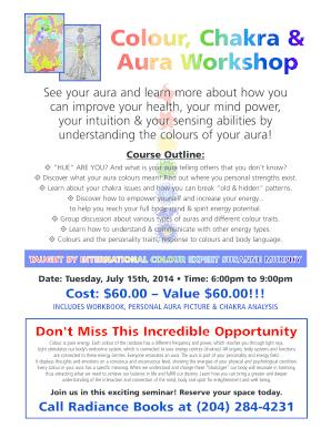 Fillable Online Colour, Chakra & Aura Workshop - Colour