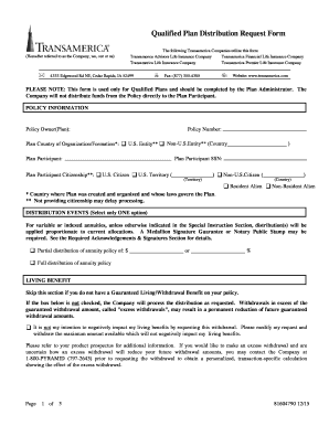 Distribution Request Form Transamerica Fill Out Online Download