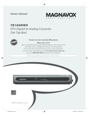fillable online tb100mw9 dtv digital to analog converter set rh pdffiller com Magnavox TB100MW9 DTV Digital to Analog Converter Magnavox Converter Box for TV